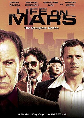 "Cartaz promocional da série ""Life on Mars""."