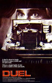 "Cartaz promocional de ""Duel"", filme de estréia de Spielberg"