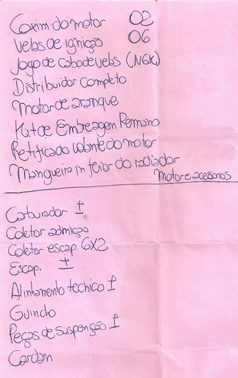 Esta foi a primeira lista que o Alexandre montou com o que seria necessário a princípio.